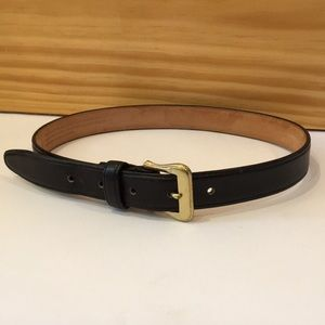 COACH Black Leather Belt with Brass Buckle